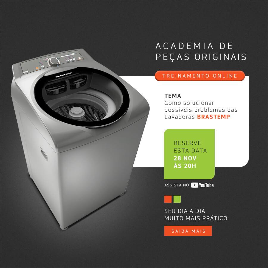 Divulgação do Treinamento Online: Como solucionar possíveis problemas das lavadoras Brastemp - 28 de Novembro, às 20h